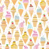Vector ice cream pattern seamless background illustration. Isolated on white Stock Photography