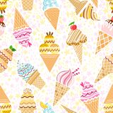 Vector ice cream pattern seamless background illustration. Isolated on white Stock Photo