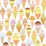 Vector ice cream seamless pattern. Summer background Royalty Free Stock Photos