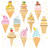 Vector ice cream set. Cone collection. Isolated Stock Image