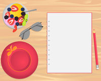 Vector ice cream, sunglasses, hat and notebook on wood background. Vector ice cream, sunglasses, pink hat and notebook on wood background. Flat lays style vector illustration