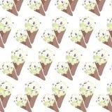 Vector Ice cream Vanilla waffle cones Royalty Free Stock Image