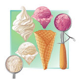 Vector ice cream in waffle cone Royalty Free Stock Image