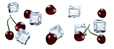 Vector Ice cube with berry cherry  Royalty Free Stock Images