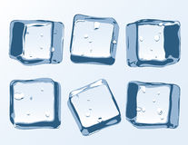 Vector ice cubes set. Clear transparent vector ice blocks vector illustration