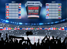Vector ice hockey arena Board Empty Field Background Championship Toronto. Royalty Free Stock Photo