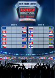 Vector ice hockey arena Board Empty Field Background Championship Toronto. Vertical poster. Royalty Free Stock Photography