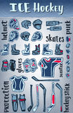 Vector ice hockey items. Equipment and protect.Winter sporting games theme or championship design. Royalty Free Stock Image