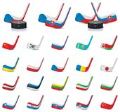 Vector ice hockey sticks - country flags. Part 1 Stock Photos