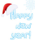 Vector ice text New Year and Santa red hat for de stock photo