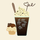 Vector of iced drink covered with whipped cream and cupcake Royalty Free Stock Images