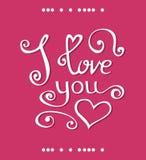 Vector ich liebe dich Briefgestaltung für glücklichen Valentinsgruß-Tag Vektor Abbildung
