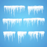 Vector icicle and snow elements clipart royalty free illustration