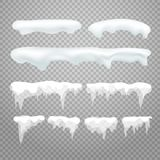 Vector icicles and snowcap elements on transparent vector illustration