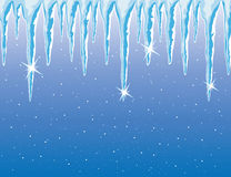 Vector icicles and snowfall Stock Images