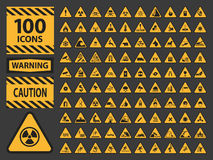 Vector icn set triangle yellow warning caution. Hazard signs. icons on grey background vector illustration