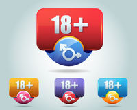 Vector Icon of 18 plus button multicolored Royalty Free Stock Photos