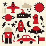 Vector icon. Vector cute objects icons set Royalty Free Stock Photos