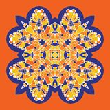 Vector icon with abstract ornament. Vector mandala with corners in childish style. Ornamental doodle orange, yellow and stock photography