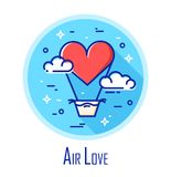 Vector icon with air balloon in the shape of heart and clouds on the sky. Air love. Thin line flat design.  Stock Photo