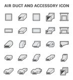 Air duct icon. Vector icon of air duct and accessory for air conditioning or HVAC system Stock Photos