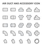 Air duct icon. Vector icon of air duct and accessory for air conditioning or HVAC system Stock Photography