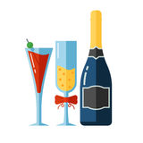 Vector Icon of Alcohol Drinks and Glassess Royalty Free Stock Photography