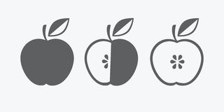 Vector icon of apple, whole and in cross section. symbol. monochrome. flat Royalty Free Stock Photos