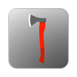Vector icon axe with orange handle. Illustration Royalty Free Stock Image