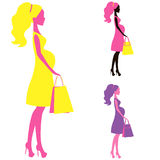 Vector icon of Beautiful  pregnant women shopping belly lady silhouette, stylized symbol moms Stock Images