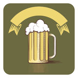 Vector icon of beer mug and ribbon with copy-space in engraved s Stock Photos