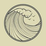 Ocean wave outline with circle frame. Vector icon. Big ocean wave outline in a circular frame with seagulls. Marine design stock illustration