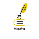 Vector icon blogging. Icon blogging. Vector logo diary. Pen and book Royalty Free Stock Image
