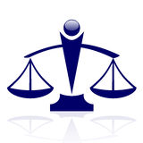 Justice scales. Vector icon - blue Justice scales Stock Photography
