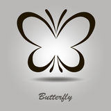 Vector icon with butterfly on a gray background. Vector black icon with butterfly on a gray background with shadow and the inscription Royalty Free Stock Image