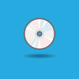 Vector icon CD drive for computer or music CD disk flat. Illustration of computer equipment and accessories on blue background Royalty Free Stock Photos