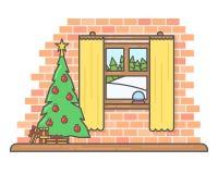 Vector icon christmas room with beautiful fur-tree Stock Photo