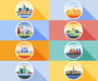 Vector icon circle flat style architecture buildings town city country travel Moscow Russian capital France, Paris. Vector vertical illustration background icon Stock Images