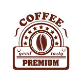 Vector icon of coffee bean for cafeteria or cafe Royalty Free Stock Image