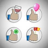 Vector icon collection can be used as symbol for love proposal, birthday party, celebration and business Royalty Free Stock Photos