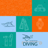 Vector icon collection diving Royalty Free Stock Images