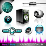 Vector icon collection on a music theme. Royalty Free Stock Photography