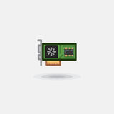 Vector icon computer board, video card, sound card is flat isolated Royalty Free Stock Photos