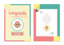 Vector icon of congratulation greeting card on birth of baby girl Stock Images