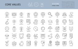 Free Vector Icon Core Values. Set 50 Icons With Editable Stroke. Values Of Business Company And Person. The Logic Of Imagination Royalty Free Stock Photos - 184513398