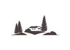 Vector icon with cottage, grounds, trees and street Royalty Free Stock Photos