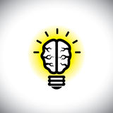Vector icon of creative, inventive brain as idea light bulb Stock Image