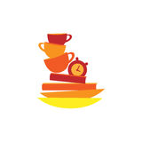 Vector icon cup of coffee, clock, books and plates Royalty Free Stock Photo