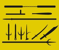 Martial art weapons icon set. Vector icon design in black color Stock Photo