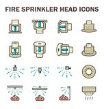 Fire sprinkler icon. Vector icon design of fire sprinkler system include fire sprinkler head, spray water and smoke detector isolated on white background Royalty Free Stock Photography